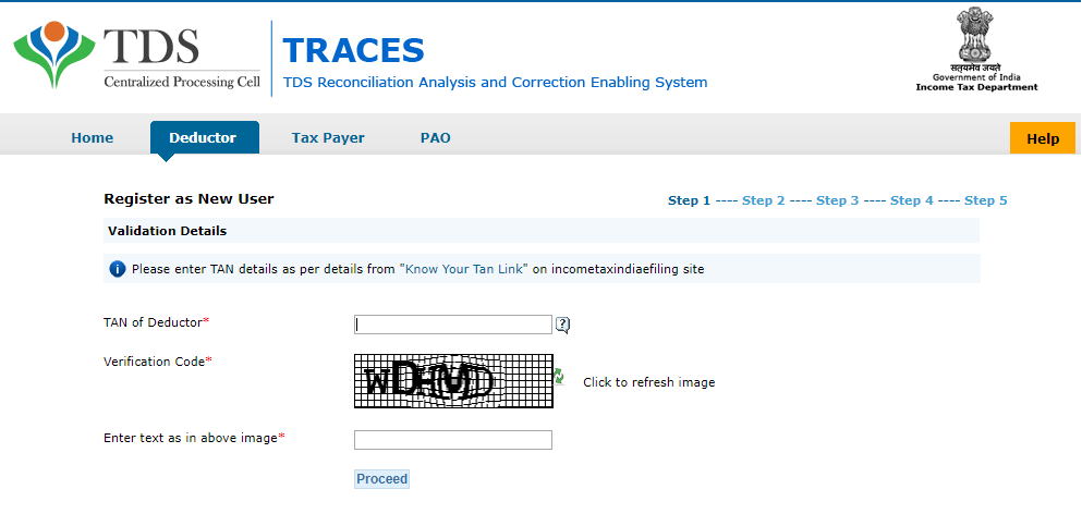 TRACES_Deductor_Registration