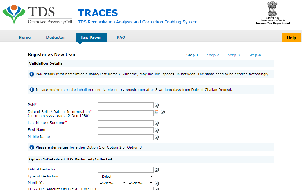 TRACES_New_Tax_Payer_Registration