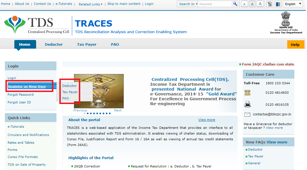TRACES_Registration_Home_Page